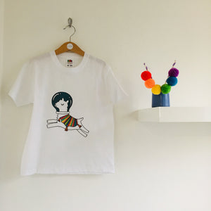 Space llama Mini Medley print children's t-shirt