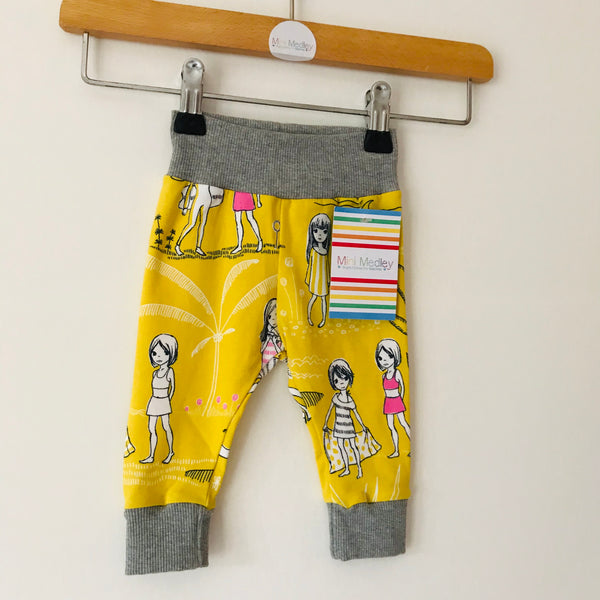 Yellow beach organic baby leggings