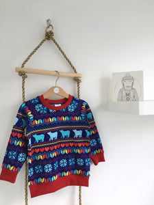 Exclusive polar bear fair isle baby / children's long sleeve t-shirt