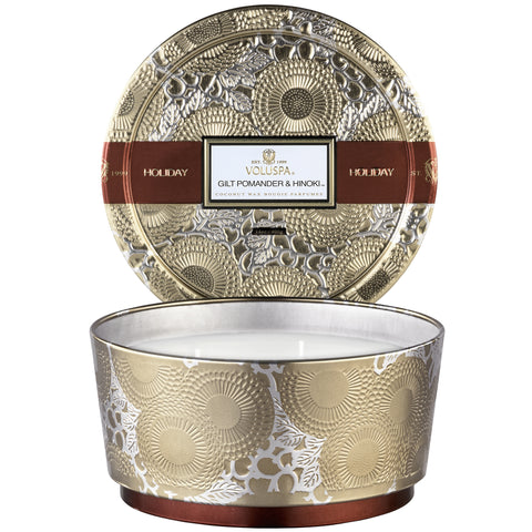 Voluspa - Seasonal Pedestal 3 Wick Tin Candle Gilt Pomander & Hinoki