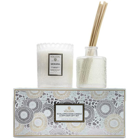 Voluspa - Japonica Collection - Scalloped Candle & Diffuser Gift Set