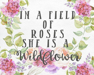 Boho In A Field Of Roses She Is A Wildflower Wall Art Print Baby Nursery Home Decor