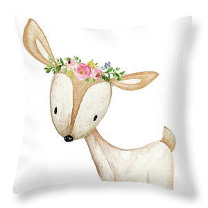Boho Woodland Baby Nursery Deer Floral Watercolor Throw Pillow Baby Girl Nursery Room Home Decor