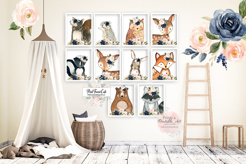 10 Bear Bunny Deer Fox Hedgehog Wall Art Print Woodland Boho Navy Blush Floral Nursery Baby Girl Room Prints Printable Decor