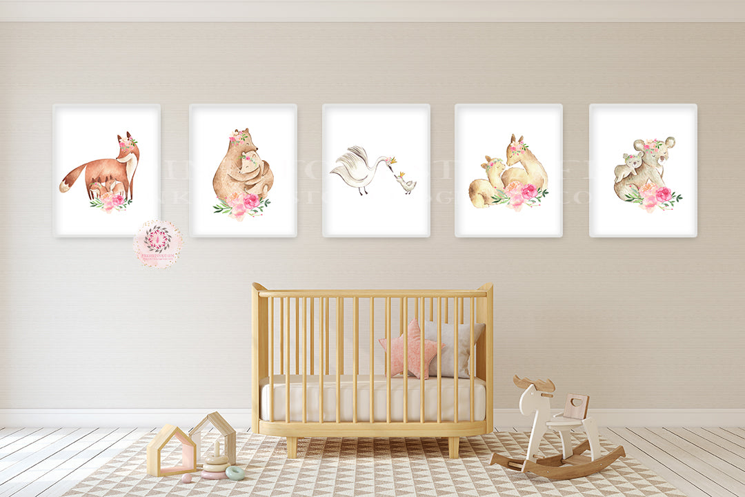 5 Fox Bear Llama Koala Swan Wall Art Print Woodland Boho Bohemian Floral Nursery Baby Girl Room Set Lot Prints Printable Decor