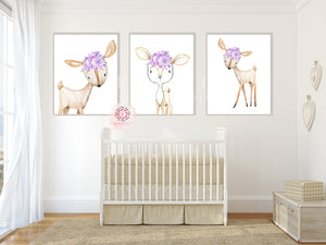 3 Purple Deer Woodland Boho Wall Art Print Bohemian Floral Nursery Baby Girl Room Set Lot Prints Printable Decor