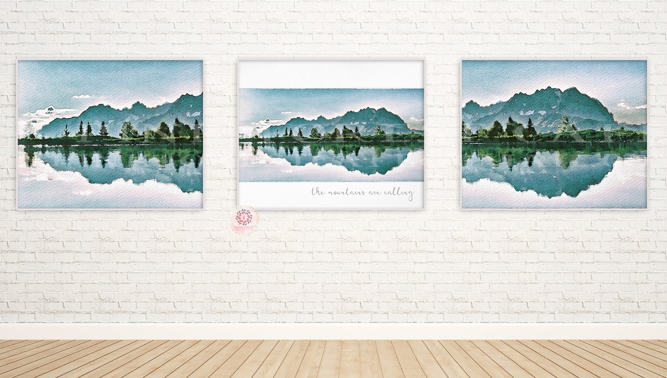 3 Woodland Mountains Wall Art Print Nursery Baby Boy Room Set Prints Printable Home Decor