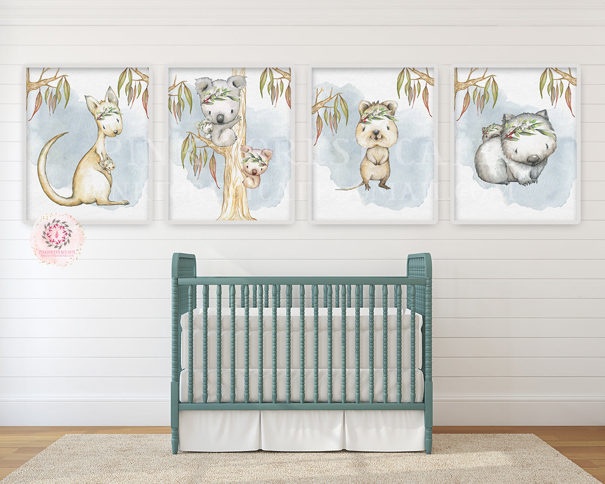 4 Kangaroo Koala Australian Wombat Wall Art Print Aussie Animal Gender Neutral Boy Girl Baby Quokka Platypus Watercolor Tribal Nursery Room Printable Decor