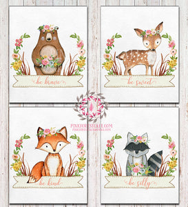 Bear Deer Fox Raccoon Wall Art Prints Woodland Boho Bohemian Nursery Baby Girl Room Prints Floral Set Lot 4 Printable Decor
