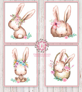 Boho Bohemian Bunny Rabbit Woodland Printable Wall Art Print Garden Floral Basket Nursery Baby Girl Room Decor Set 4