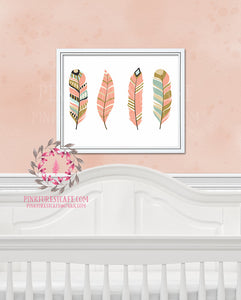 Boho Chic Tribal Woodland Feathers Printable Print Wall Art Nursery Home Decor