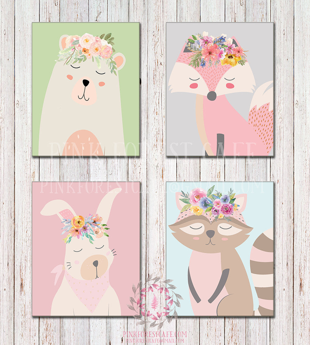 Sleeping Bunny Rabbit Fox Bear Raccoon Woodland Bohemian Boho FLoral Safari Nursery Kids Baby Room Playroom Prints Gift Lot Of 4 Printable Wall Poster Sign Art Decor