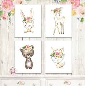 Boho Bear Deer Fox Bunny Woodland Wall Art Print Baby Girl Nursery Watercolor Floral Set 4 Printable Decor