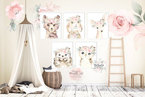 5 Boho Deer Bear Bunny Wall Art Print Antler Woodland Feather Nursery Baby Girl  Hedgehog Blush Floral Watercolor Set Prints Printable Decor