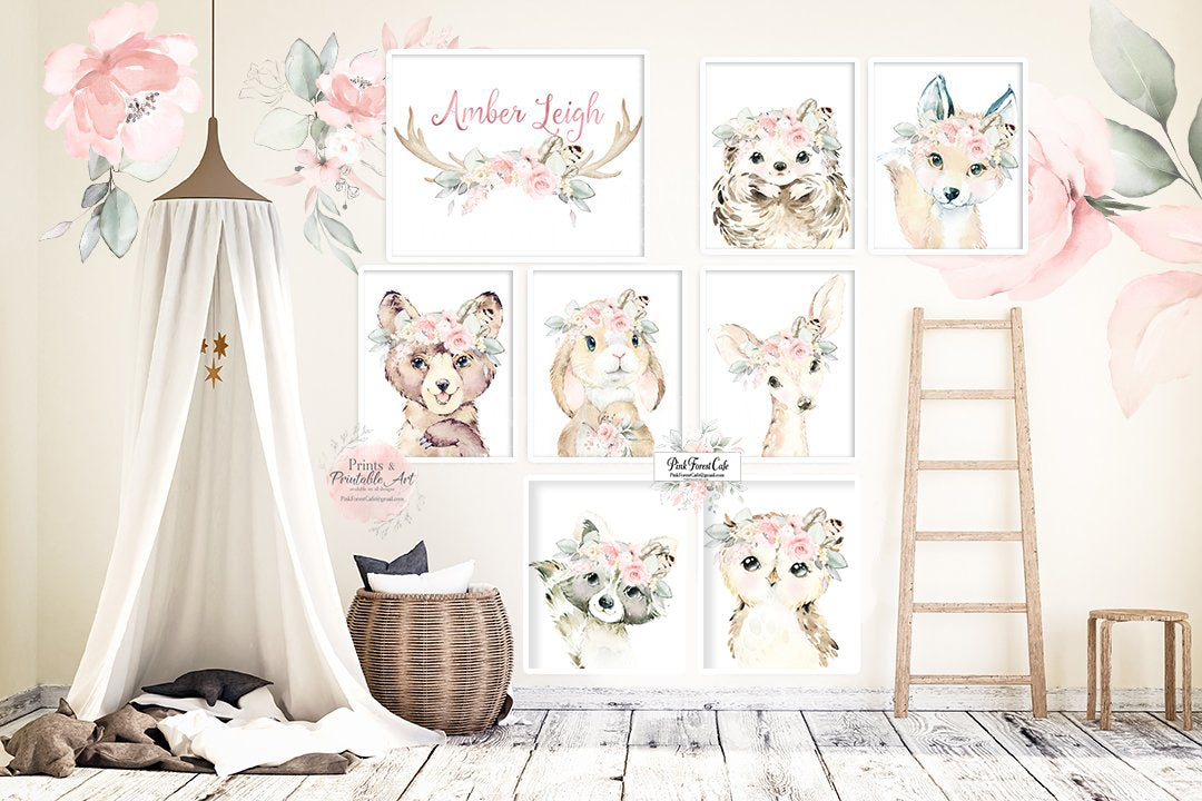 8 Boho Fox Bear Deer Bunny Wall Art Print + Antler Name Personalized Woodland Feather Nursery Baby Girl Room Hedgehog Raccoon Blush Floral Bohemian Watercolor Set Prints Printable Decor