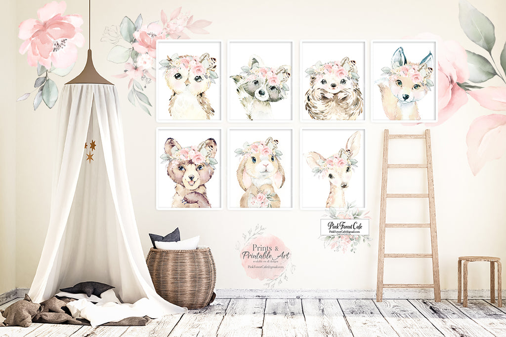 7 Boho Fox Bear Deer Bunny Wall Art Print Antler Woodland Feather Nursery Baby Girl Room Hedgehog Raccoon Blush Floral Bohemian Watercolor Set Prints Printable Decor
