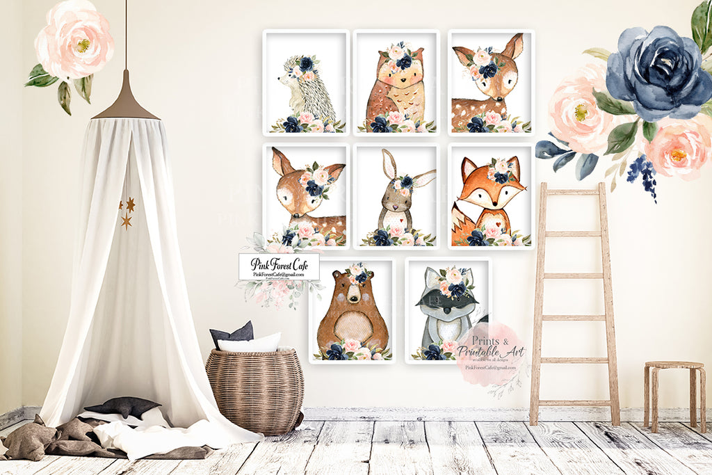 8 Bear Bunny Deer Fox Hedgehog Wall Art Print Woodland Boho Navy Blush Floral Nursery Baby Girl Room Prints Printable Decor