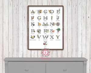 ABC Woodland Sampler Alphabet Baby Nursery Printable Wall Art Print Rustic Tribal Boho Bear Antlers Deer Decor