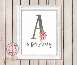 Baby Monogram Name Initial Wall Art Print Personalized Birth Announcement Gift Watercolor Woodland Watercolor Floral Rustic Baby Nursery Printable Decor