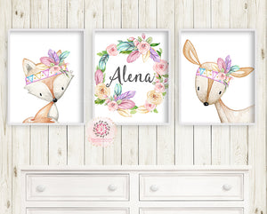 3 Boho Deer Fox Baby Name Wall Art Print Woodland Nursery Baby Girl Feather Tribal Rainbow Room Set Lot Watercolor Personalized Birth Stats Prints Printable Decor