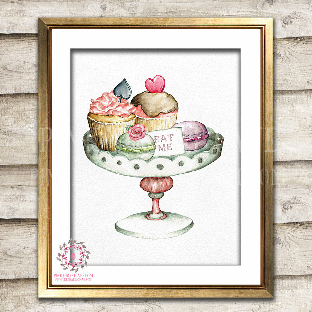Alice In Wonderland Boho Tea Party Cake Cupcake Tray Nursery Baby Girl Watercolor Room Printable Print Wall Art Home Decor