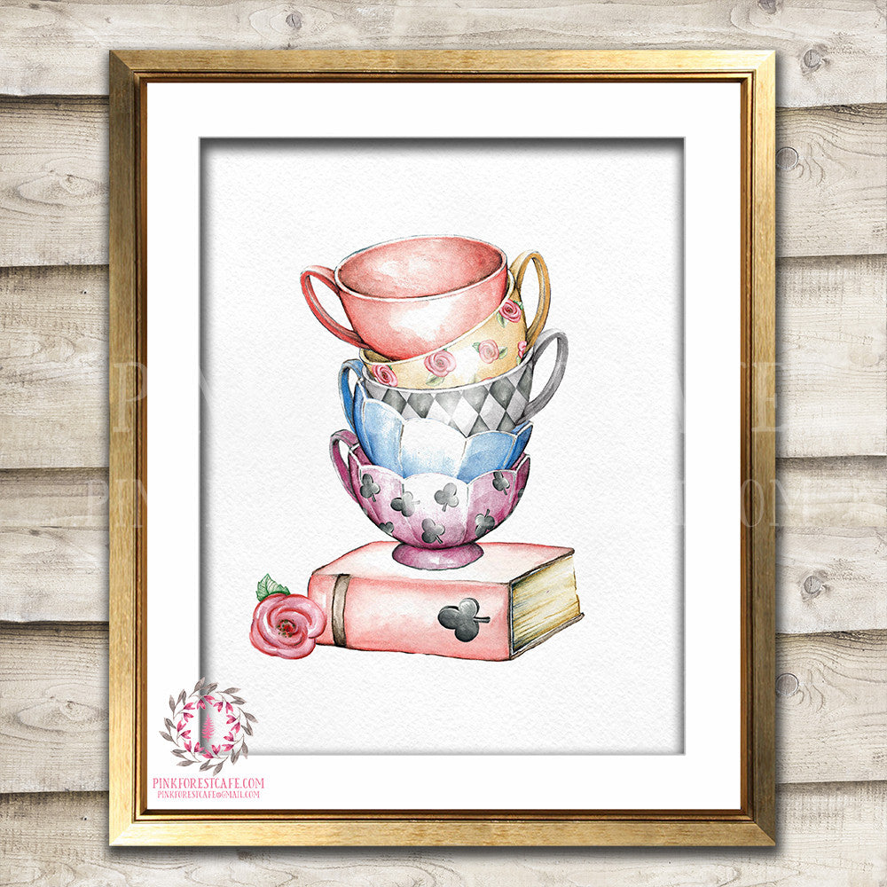 Alice In Wonderland Boho Tea Party Teacups Nursery Baby Girl Watercolor Room Printable Print Wall Art Home Decor