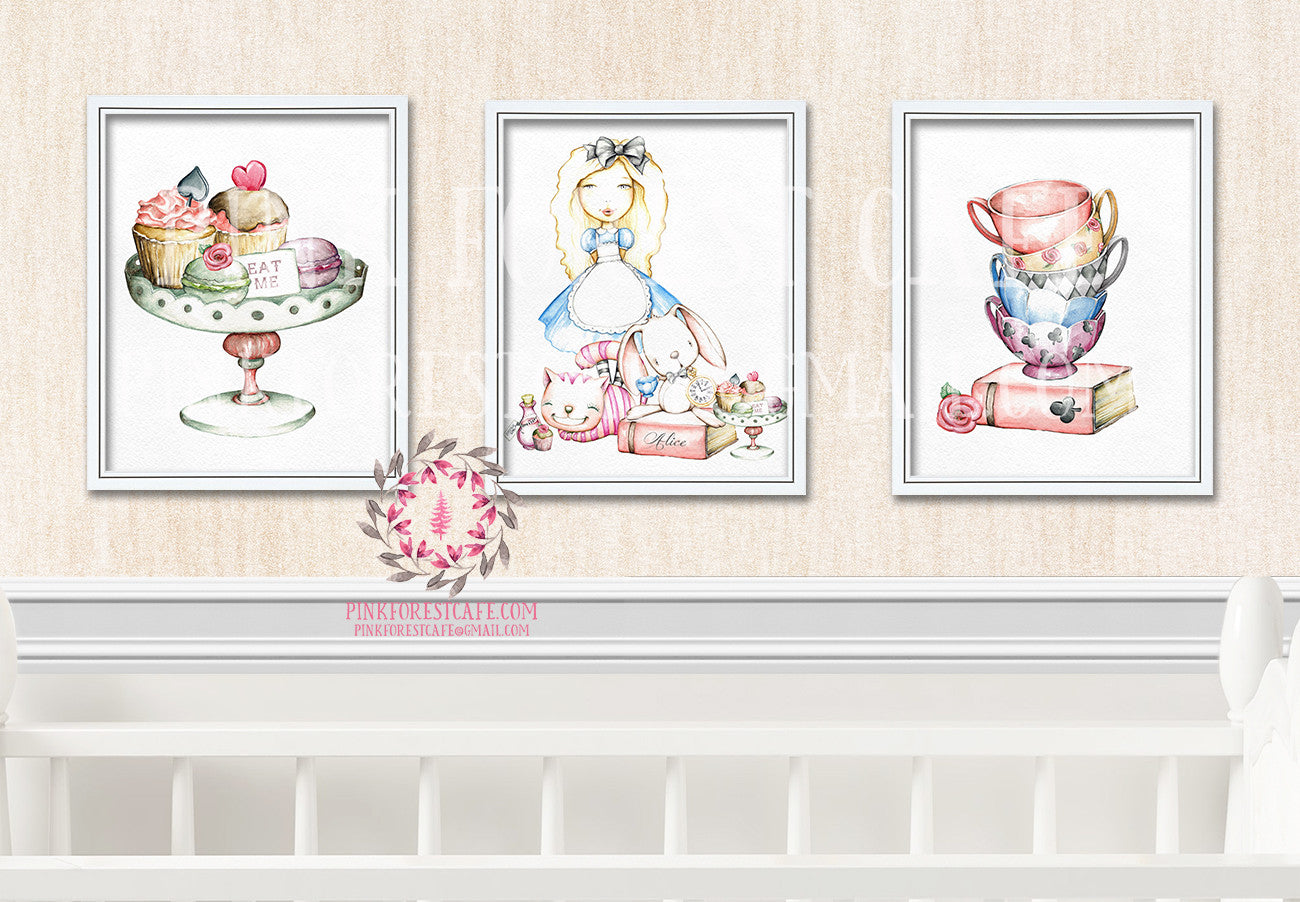 Alice In Wonderland Rabbit Cheshire Cat Boho Tea Party Nursery Baby Girl Watercolor Room Printable Print Wall Art Home Decor