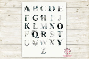 Ethereal ABC Woodland Sampler Alphabet Printable Wall Art Print Baby Nursery Rustic Decor