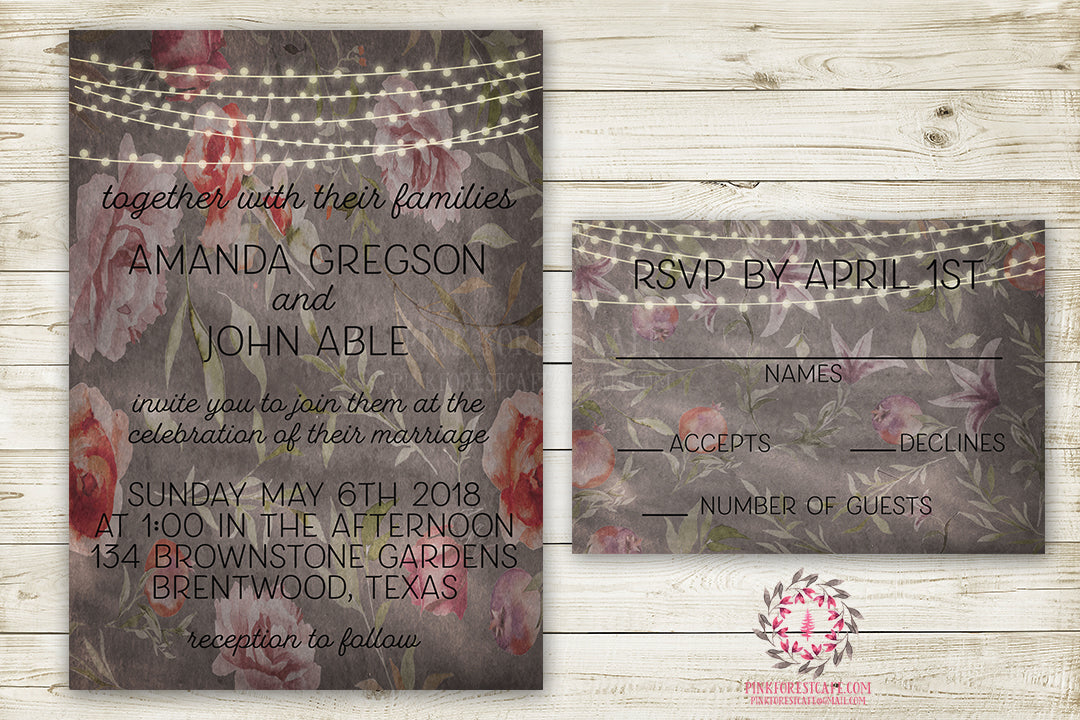 Boho Shabby Chic Ethereal Wedding Invite Invitation RSVP Card Bridal Baby Shower Watercolor Save The Date Printable