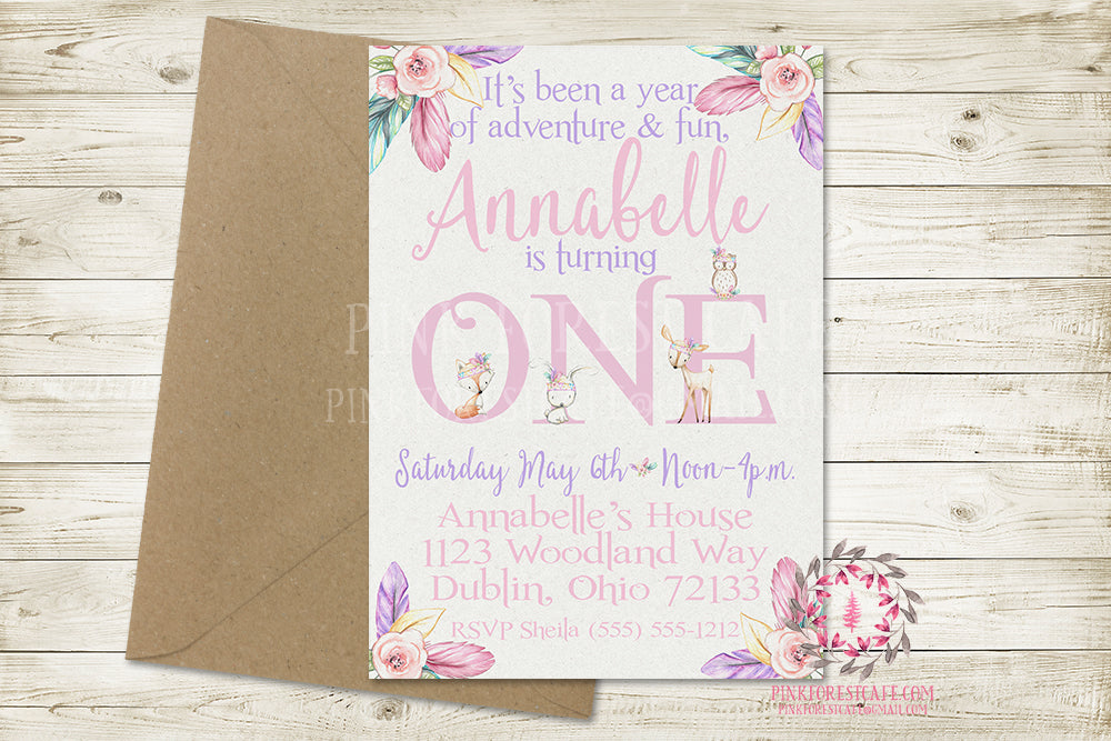 Woodland Boho 1st First Birthday Baby Girl Birthday Party Invite Invitation Tribal Feather Deer Bunny Fox Owl Watercolor Floral Printable