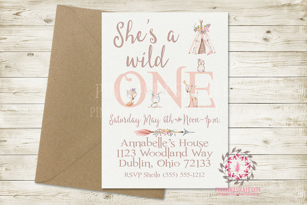Woodland Boho 1st First Invite Invitation Baby Girl Birthday Party Wild One Tribal Feather Deer Bunny Fox Owl Watercolor Floral Printable