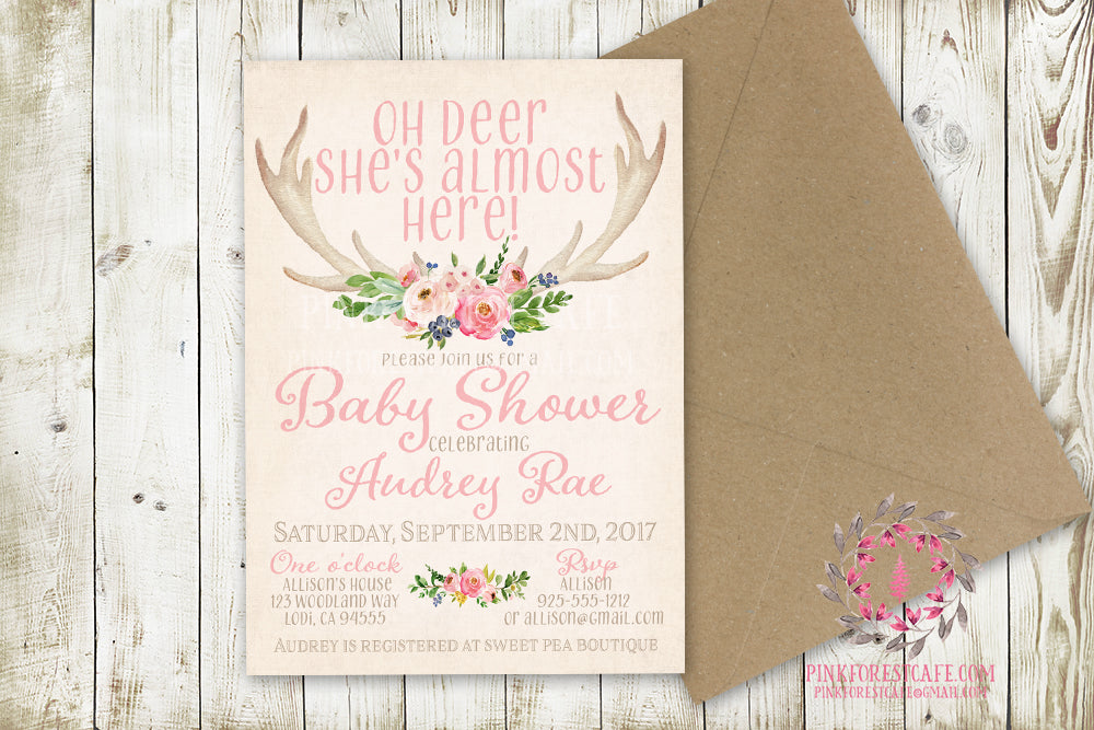 Baby Girl Invite Invitation Antlers Shower Birthday Party Deer Antlers Wedding Bridal Save The Date Announcement Feathers Tribal Woodland Watercolor Floral Rustic Printable Art