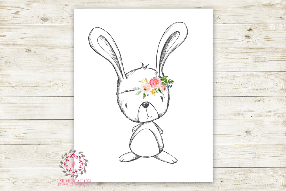 Bunny Rabbit Woodland Animal Boho Wall Art Print Bohemian Garden Floral Nursery Baby Girl Room Playroom Prints Printable Home Decor