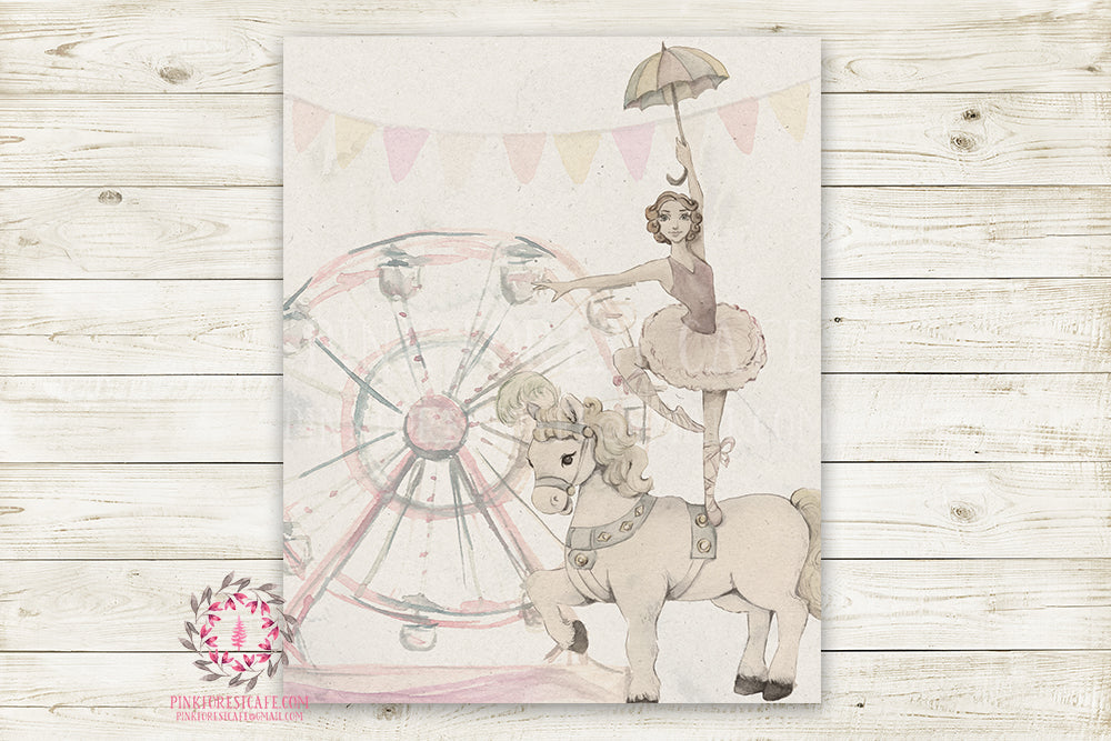 Monochrome Horse Ballerina Nursery Wall Art Print Ethereal Ferris Wheel Amusement Park Woodland Rustic Swing Boho Printable Watercolor Mystery Fantasy Magical Carnival Decor