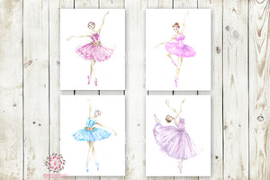 Ballerina TuTu Ballet Dancers Wall Art Print Set Boho Floral Nursery Baby Girl Room Prints Printable Decor
