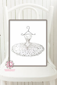 Monochrome Ballerina TuTu Ballet Dancer Wall Art Print Boho Floral Nursery Baby Girl Room Printable Decor