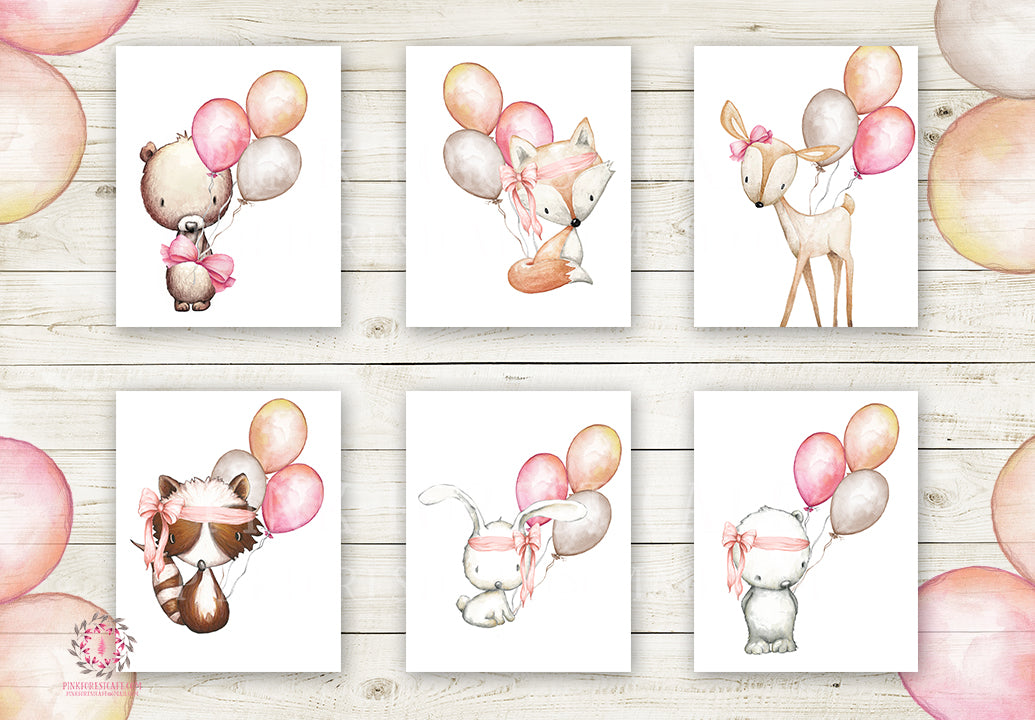 6 Deer Fox Bunny Rabbit Bear Wall Art Print Woodland Boho Balloon Bohemian Nursery Baby Girl Room Set Lot Prints Printable Decor