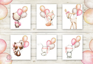 Boho Balloon Bunny Bear Deer Fox Nursery Wall Art Woodland Prints Bohemian Baby Room Raccoon Owl Home Decor Print Set Of 6