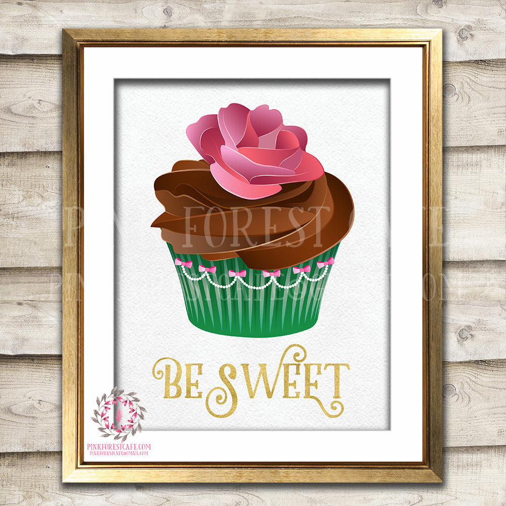 Be Sweet Cupcake Printable Wall Art Nursery Decor Print