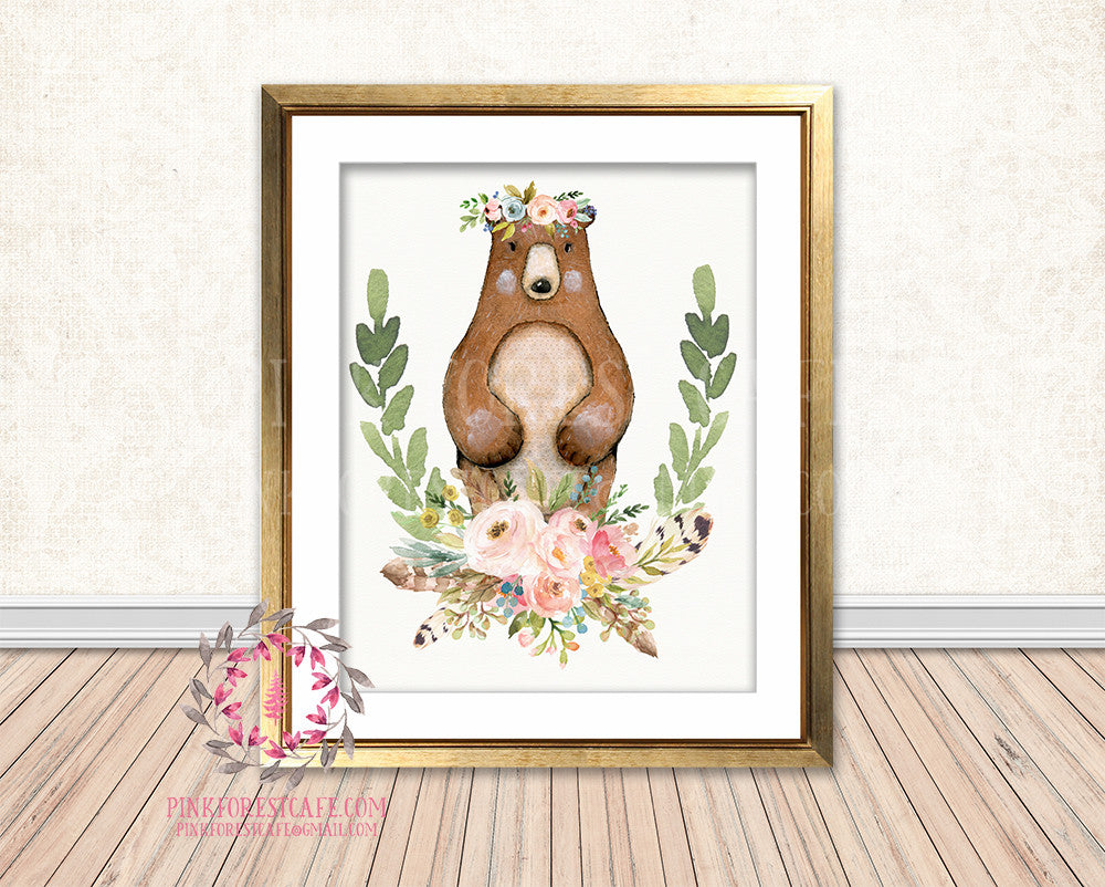 Boho Bear Bohemian Blush Floral Feather Woodland Nursery Baby Girl Room Printable Print Wall Art Decor
