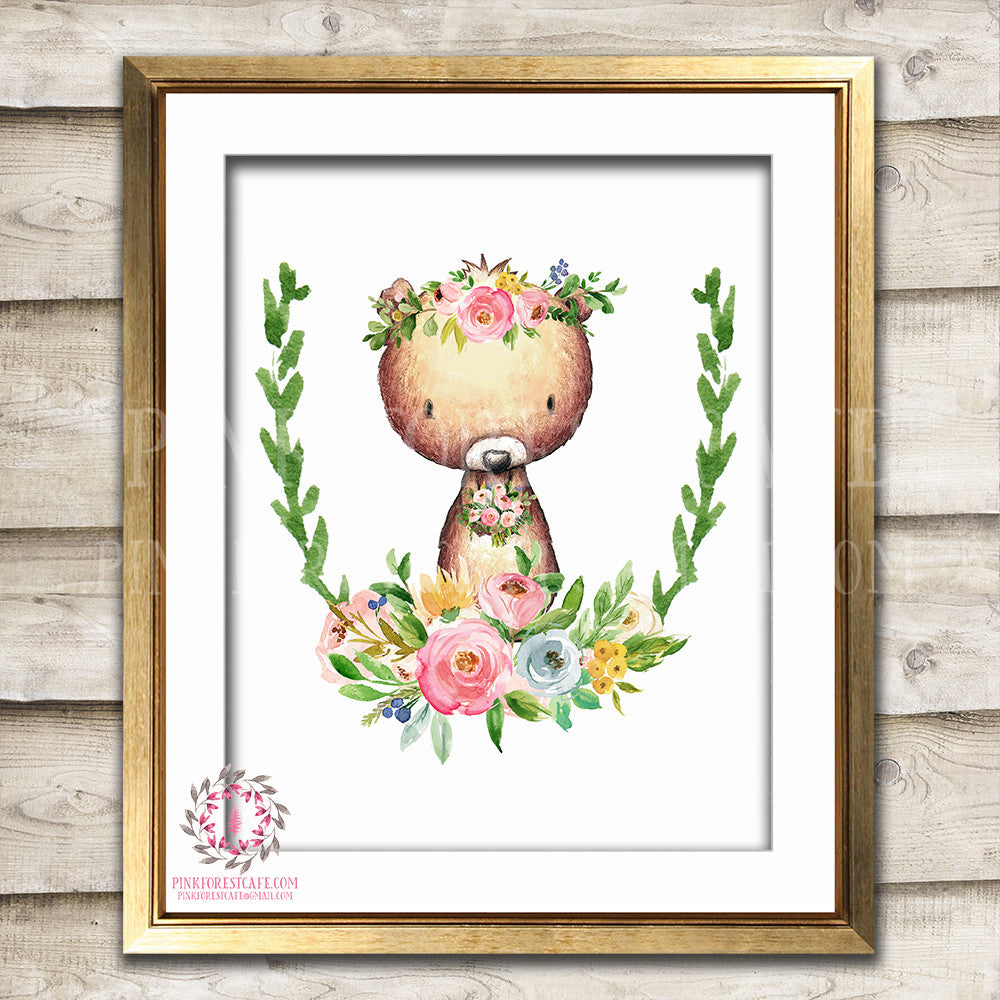 Bear Watercolor Woodland Boho Bohemian Floral Nursery Baby Girl Room Printable Print Wall Art Home Decor