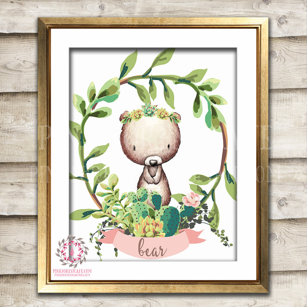 Boho Cactus Succulent Woodland Bear Bohemian Nursery Baby Girl Room Printable Print Wall Art Home Decor