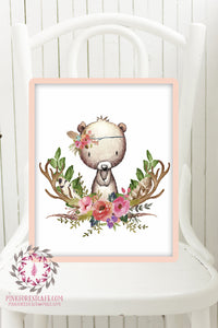 Bear Woodland Boho Printable Print Wall Art Baby Nursery Feather Antlers Watercolor Bohemian Floral Girl Room Decor
