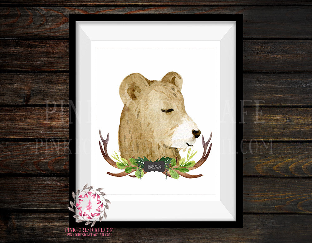 Watercolor Bear Tribal Antlers Rustic Woodland Printable Wall Art Print Baby Boy Nursery Cabin Home Decor