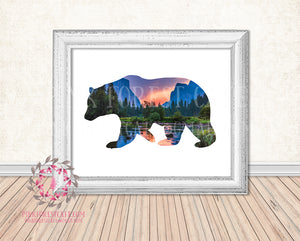 Bear Mountain Scene Woodland Wall Art Print Boy Girl Nursery Lake Mountains Sunset Home Printable Decor