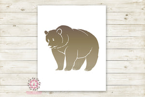 Bear Woodland Wall Art Print Baby Boy Nursery Rustic Silhouette Tribal Primitive Kids Room Printable Decor