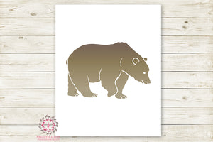 Bear Woodland Wall Art Print Baby Boy Nursery Rustic Silhouette Tribal Kids Room Printable Decor