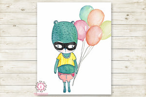 Bear Superhero Woodland Nursery Wall Art Print Baby Balloon Printable Watercolor Decor