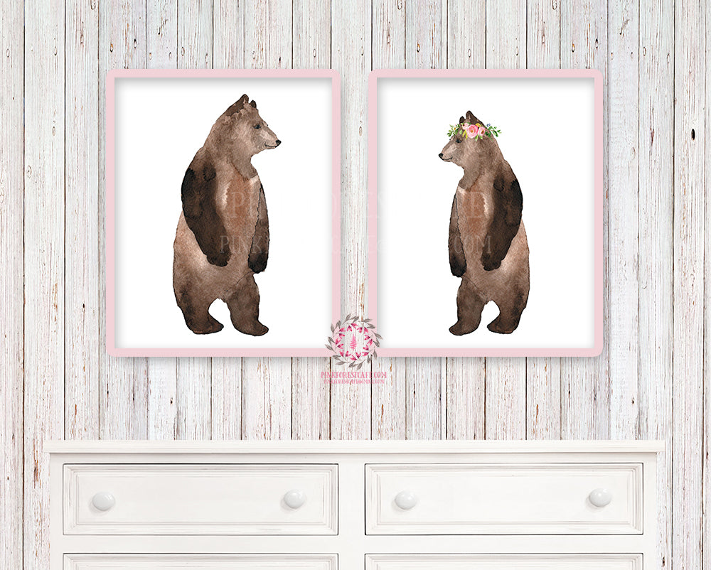 Bear Duo Printable Print Wall Art Woodland Boho Nursery Baby Girl Bohemian Floral Bedroom Set Lot Prints Decor