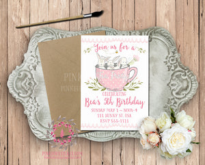 Bunny Rabbit Tea Party Girls Birthday Party Baby Bridal Shower Printable Invitation Invite